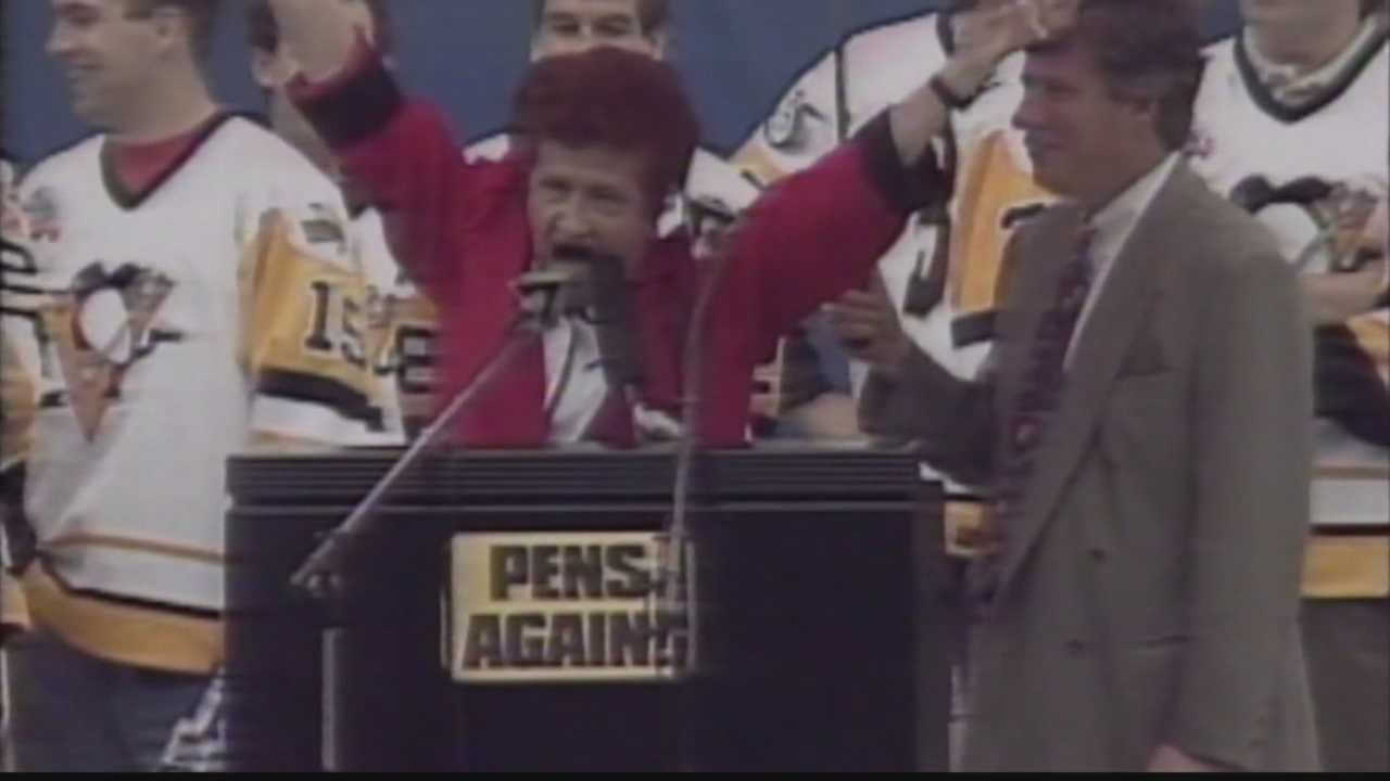 Sophie Masloff joined Pittsburghers in celebration when the Penguins won back-to-back Stanley Cups in the early 1990s.