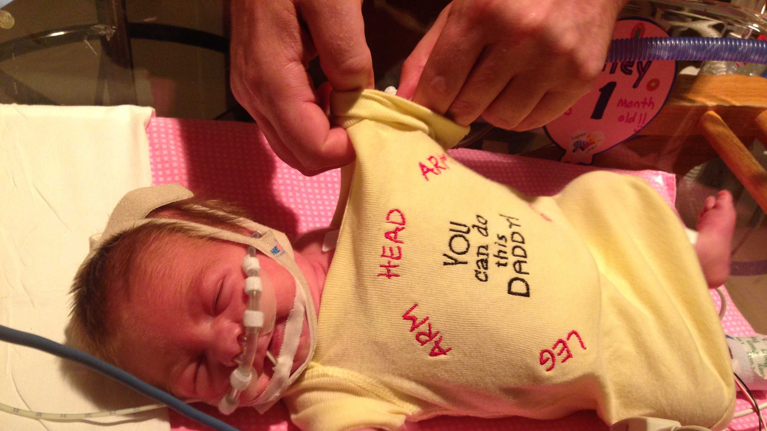 Riley Mae Lang was 2.95 lbs when she was born. She was 2.5 months premature.