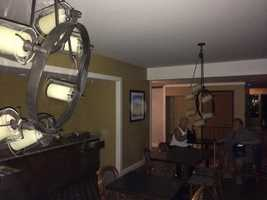 Lighting fixtures in lobby of my hotel in Napa after earthquake