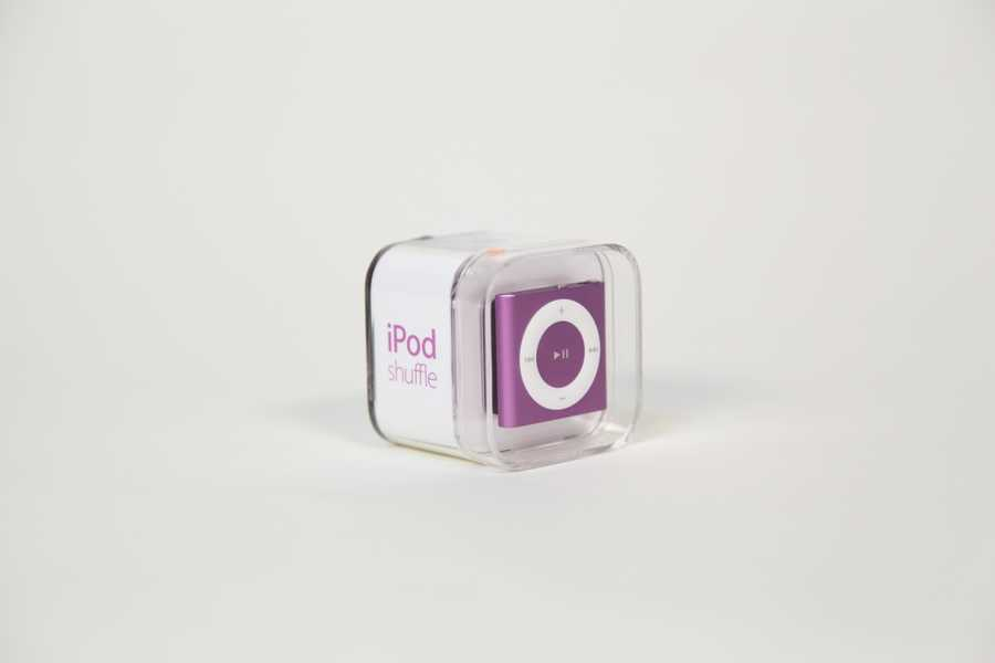 Purple iPod Shuffle, courtesy of an anonymous donor