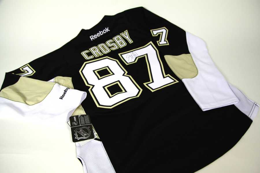 Autographed Sidney Crosby NHL Jersey, size small, courtesy of The Pittsburgh Penguins