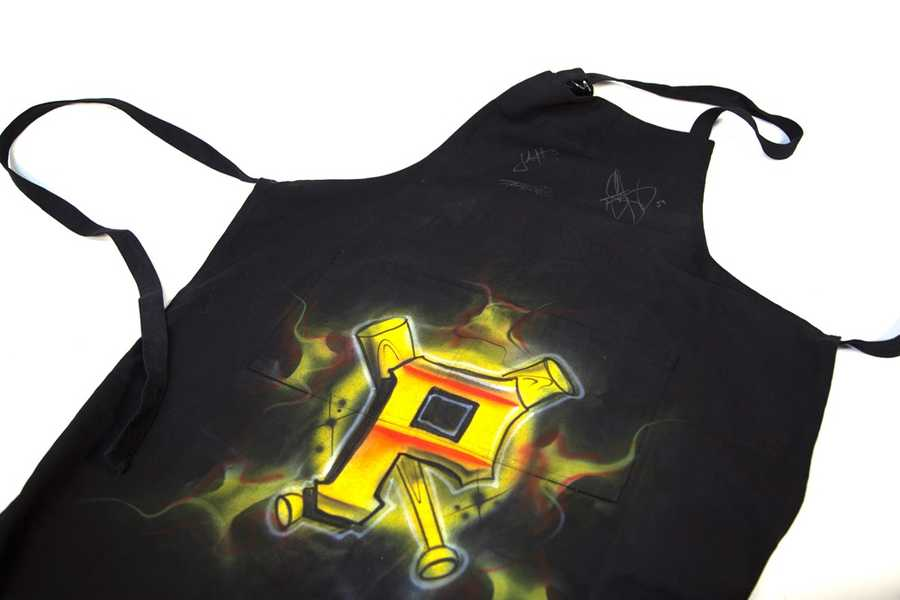 Autographed Pittsburgh Pirates airbrushed apron, courtesy of The Latrobe Corps of The Salvation Army