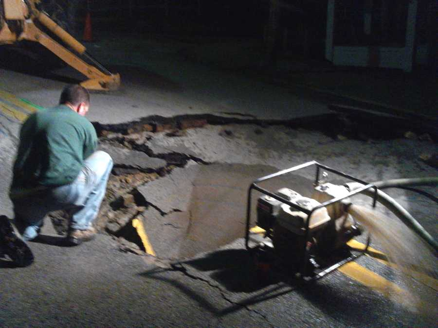 A large water main break in the middle of Fifth Street was being repaired Thursday morning in Charleroi, Washington County.