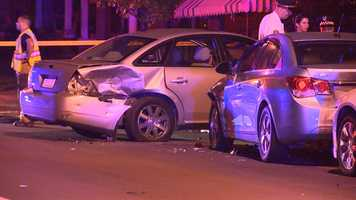 A silver car crashed into a parked vehicle in Brighton Heights, and the impact caused the parked vehicle to hit two other parked cars, one of which hit a gas line.