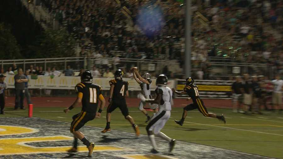 Mike Merhaut's 25-yard touchdown catch from Ben DiNucci ended the game in overtime, giving Pine-Richland a 28-24 victory at North Allegheny.
