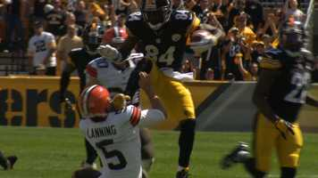 """Steelers punt returner Antonio Brown was asked what happened when he kicked Browns punter Spencer Lanning. Brown responded: """"I had my mind made up that he was going under me. I tried to get over him. {I had] no intent to hurt him. It was just a bad outcome of a play. I thought he was going low and I tried to leap over him..."""""""