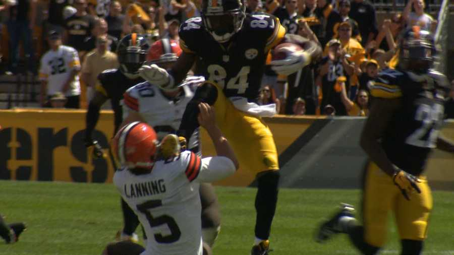 "Steelers punt returner Antonio Brown was asked what happened when he kicked Browns punter Spencer Lanning. Brown responded: ""I had my mind made up that he was going under me. I tried to get over him. {I had] no intent to hurt him. It was just a bad outcome of a play. I thought he was going low and I tried to leap over him..."""