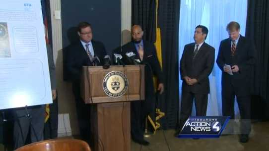 Mayor William Peduto, Allegheny County Executive Rich Fitzgerald, local elected officials, and officials from the Urban Redevelopment Authority, Sports & Exhibition Authority and the Pittsburgh Penguins announcing the development plans for the Hill District.