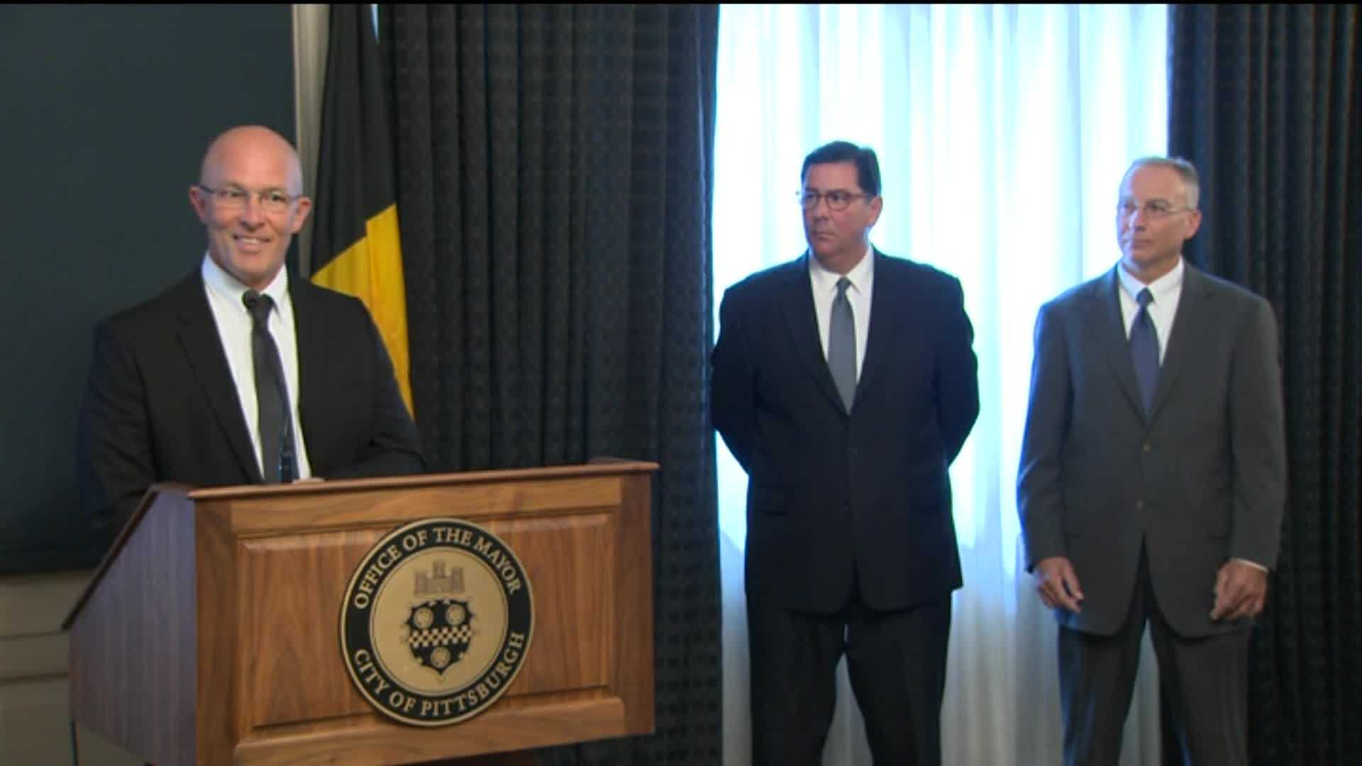 Pittsburgh Police Chief Cameron McLay, Mayor Bill Peduto and Public Safety Director Stephen Bucar