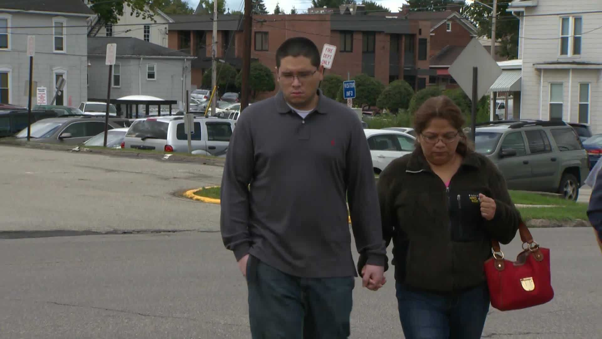 William Rivera was accompanied by his mother to the Indiana borough police station.