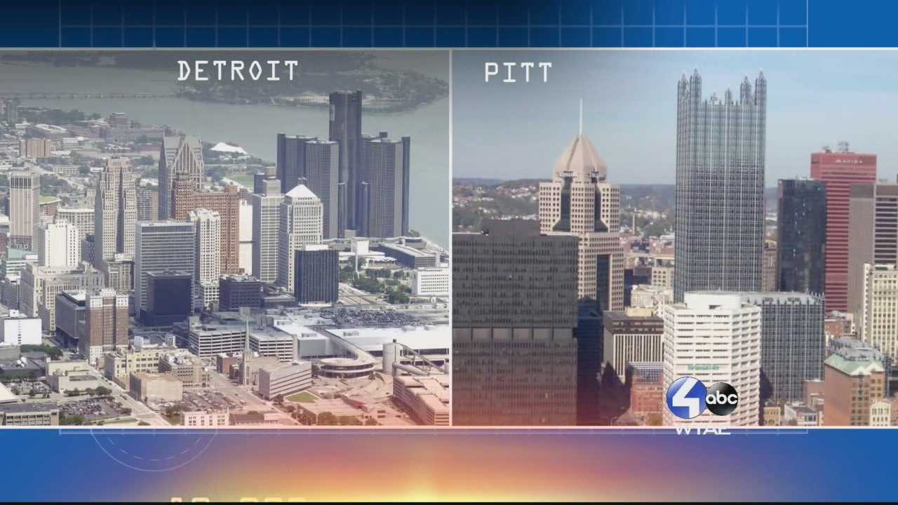 WTAE's Sally Wiggins looks at how Pittsburgh and Detroit helped make a nation. Pittsburgh building with steel&#x3B; Detroit driving it with cars. Then global competition brought them to their knees. So did Detroit&#x3B; but it has been a lingering death.