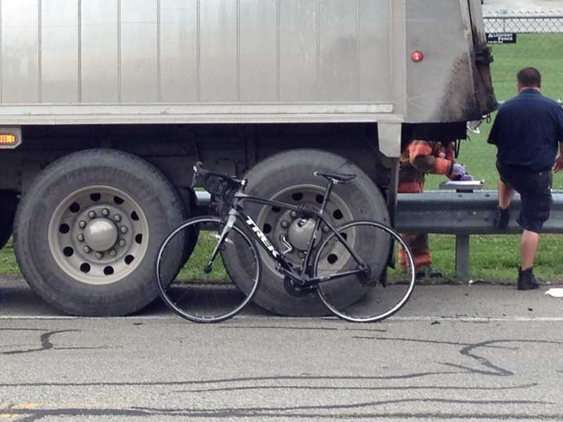 One person was hurt in a crash involving a tri-axle truck and a bicycle Tuesday afternoon in Murrysville.