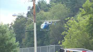 A patient was flown away from the crash scene in a medical helicopter.