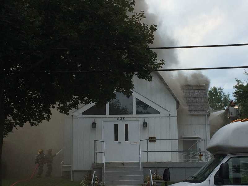 A fire damaged Saint Paul Baptist Church in Oakmont.
