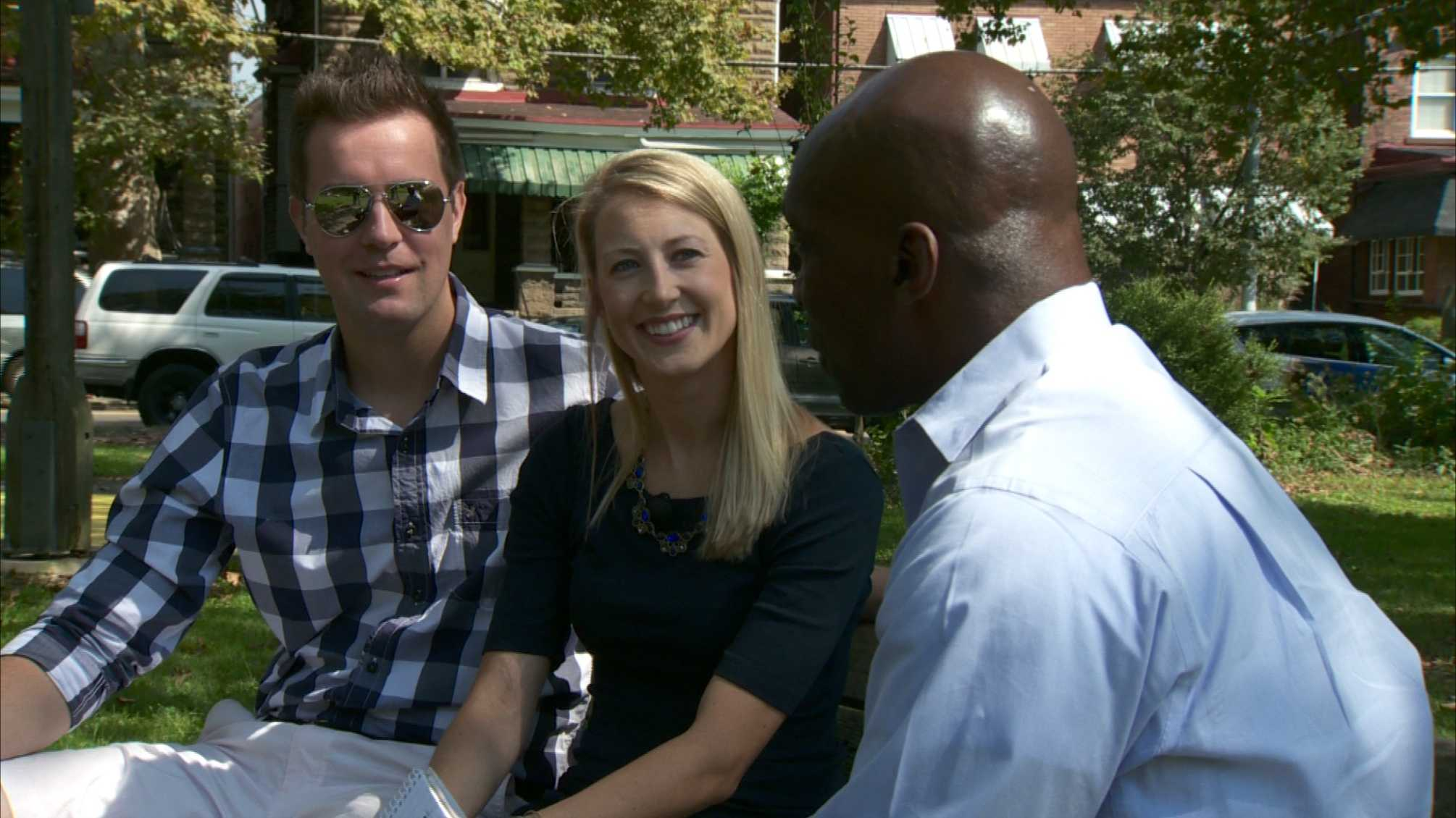 Caleb Wallace and Jessica Kerlik with Pittsburgh's Action News 4 reporter Sheldon Ingram
