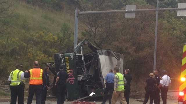 A Port Authority spokesman said a bus was heading inbound on Interstate 279 when it went down a hillside and crashed onto Evergreen Road in Summer Hill.
