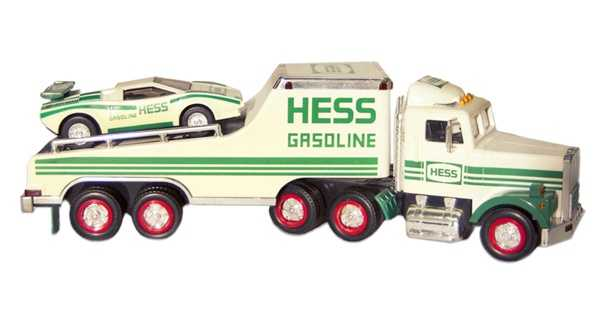 "Hess Toy TrucksHess toy trucks drove onto the scene in 1964 and were among the first toys to boast working lights and realistic sounds. In the years since, the holiday favorite has included or come with a range of vehicles -- such as a seafaring oil tanker, fire truck, training van, patrol car, race car, construction vehicle, transport truck with space shuttle, and helicopter. Each year, an iconic commercial jingle reminds holiday shoppers that, ""The Hess truck is back, and it's better than ever!"""