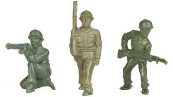 Little Green Army MenEver since the 1930s, little green army men have occupied territories, lands, and entire make-believe nations. Molded with incredible detail and manufactured by the millions, the plastic toy soldiers have fuel kids' imaginations, prompt their narratives, and encourage their stories of daring and heroism.