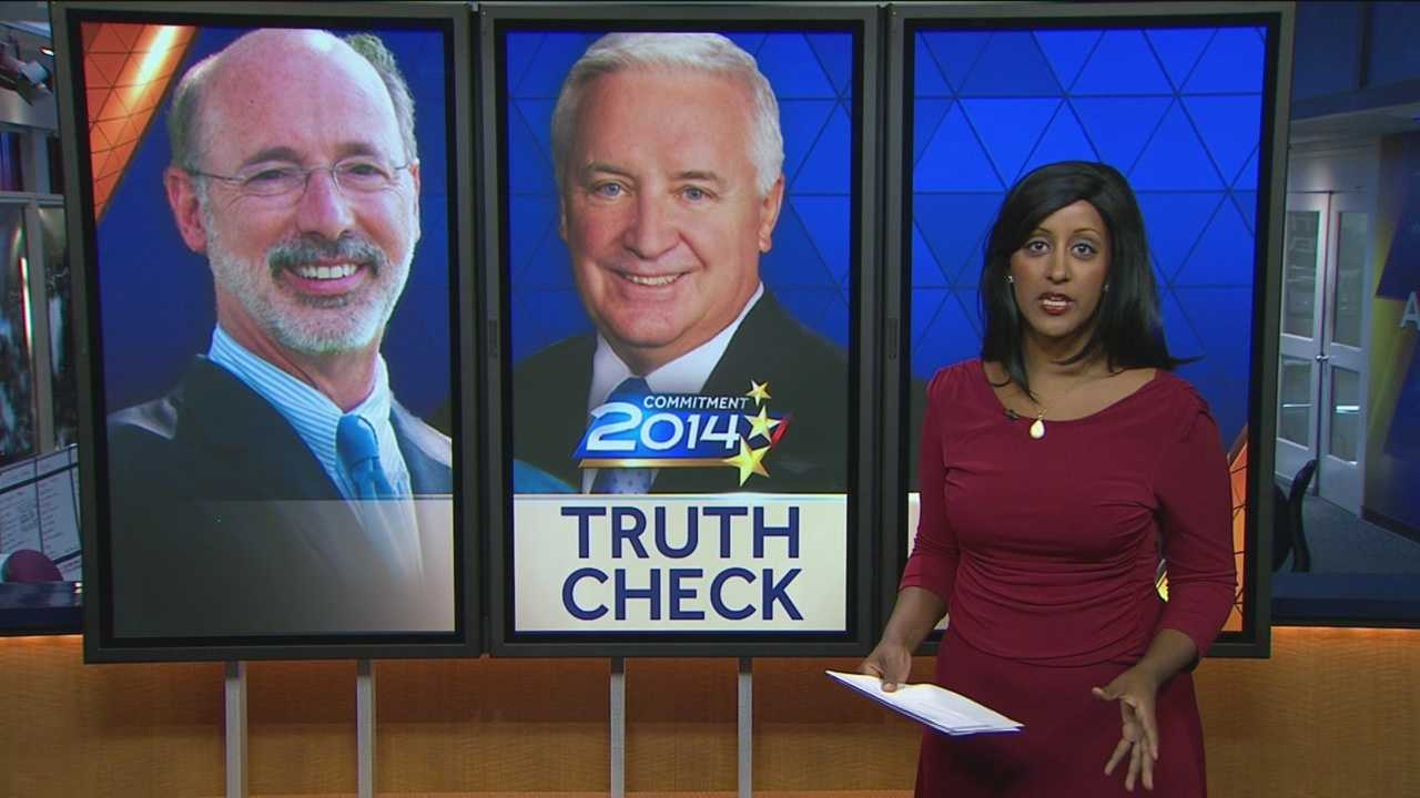 Pittsburgh's Action News 4's Bofta Yimam has this edition of truth Check focusing on last night's Pennsylvania Gubernatorial Debate between Tom Corbett and Tom Wolf.