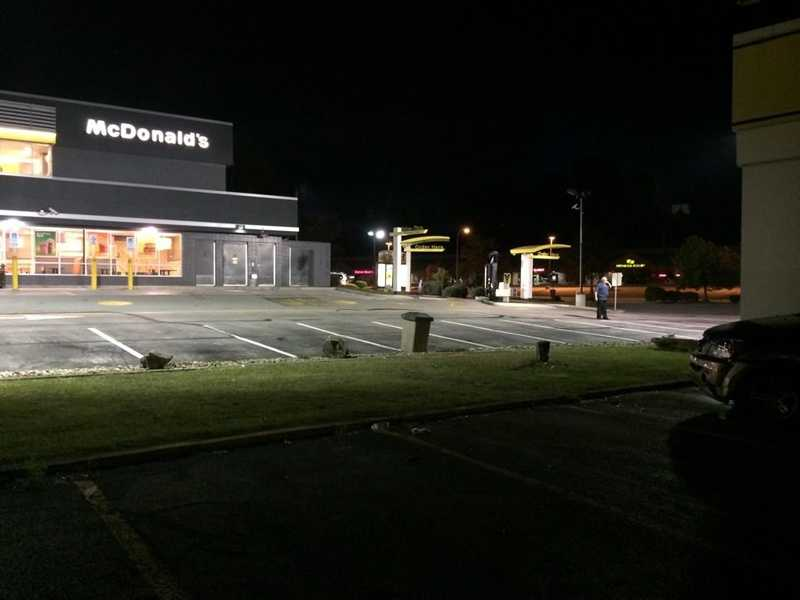 Here's a view of the McDonald's parking lot where police say the woman was parked. It's at least 30 feet from the garage that she hit.