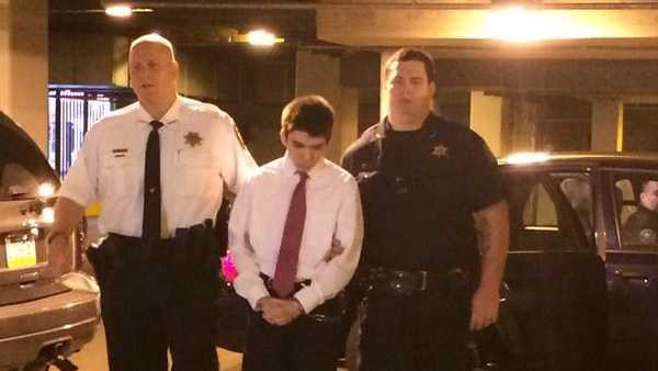 Franklin Regional High School stabbing suspect Alex Hribal is led into the Westmoreland County Courthouse.
