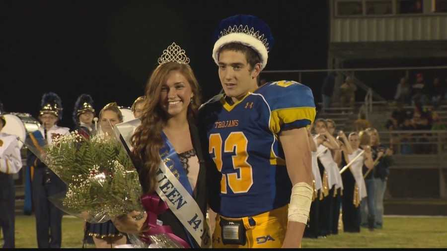 Homecoming Night at Derry Area High School: Maddie Deluca and Troy Balega are named queen and king.