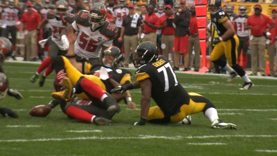 Ben Roethlisberger was sacked byMichael Johnson and fumbled in the first quarter.