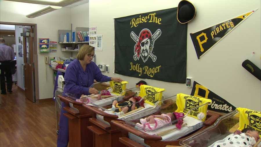 Newborn babies were dressed in Pittsburgh Pirates onesies and bandanas by the nurses at St. Clair Hospital in Mt. Lebanon to celebrate the Buccos returning to the Major League Baseball postseason.