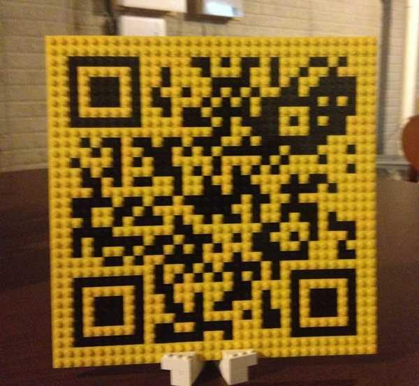 A quick response code made of Lego pieces.