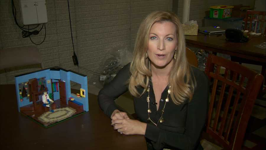 """Shannon Perrine also found other Lego creations at Josh Hall's home. Here's the living room from """"Mister Rogers' Neighborhood."""""""