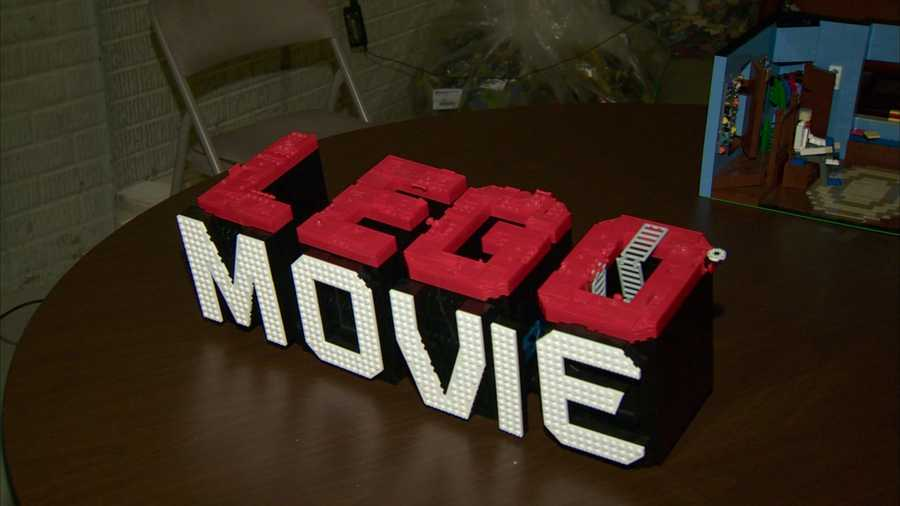 """This miniature version of """"The Lego Movie"""" sign was made from Legos."""
