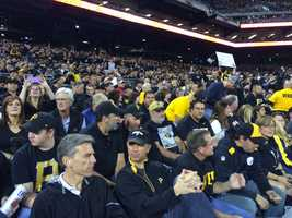 "Pirates fans dressed in black to create a ""blackout"" at the NL Wild Card Game."