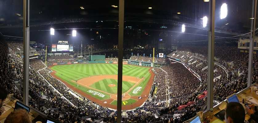 The view from the press box at PNC Park.