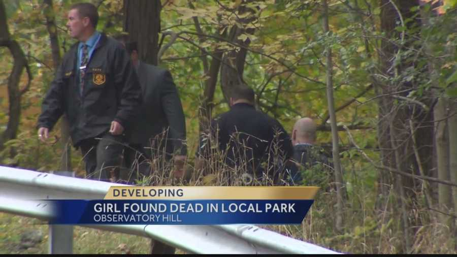 Pittsburgh police searched a wooded area of Riverview Park for evidence in the death of Teaira Whitehead.
