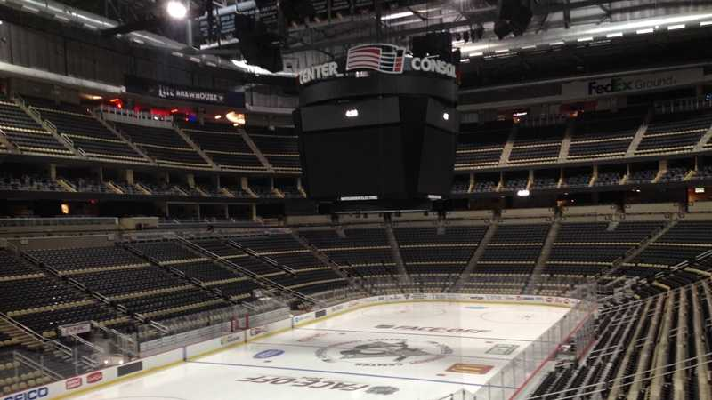 The hockey rink at Consol Energy Center is ready for the Pittsburgh Penguins season opener.