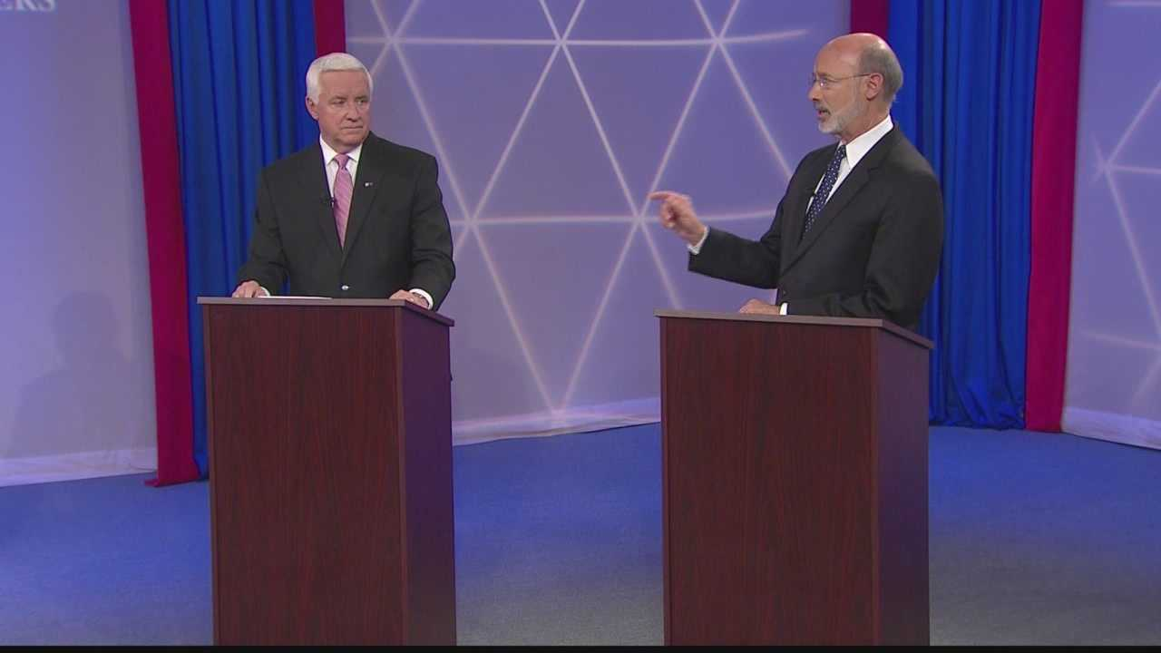 Pennsylvania Gov. Tom Corbett (left) and challenger Tom Wolf (right) met in a debate at WTAE.