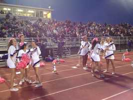 Plum cheerleaders and crowd