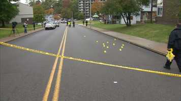 Yellow markers indicate the number of shell casings that police recovered at the Glen Hazel shooting scene.