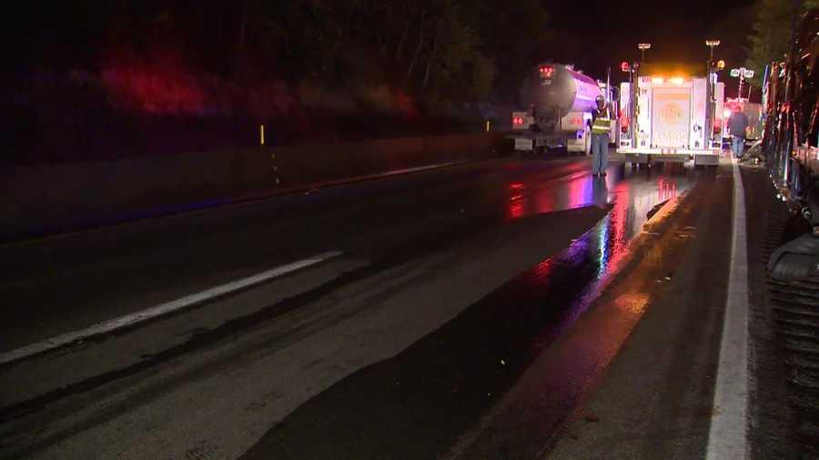 The crash left a sticky trail of grape juice on I-70.