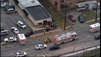 """Sky 4 flew over the accident scene at Brows """"R"""" Us on Monroeville Boulevard."""