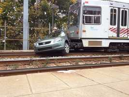 A light-rail vehicle hit a car on the T tracks in Dormont.