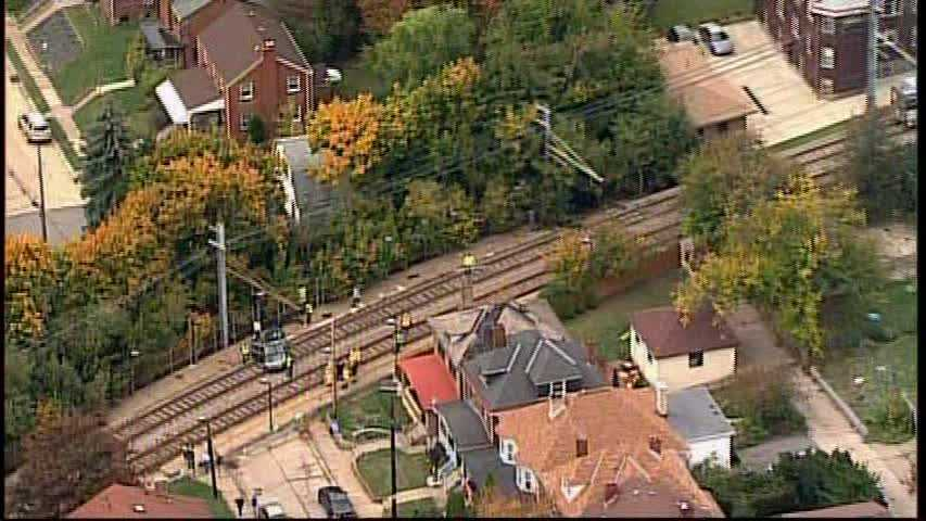 A wider look at the light-rail tracks in Dormont.