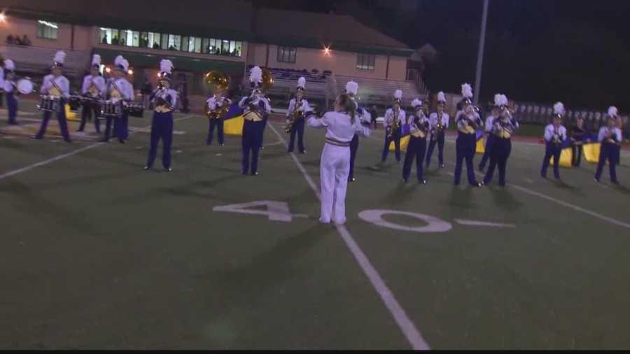 The Plum High School band plays at Penn-Trafford's Warrior Stadium.