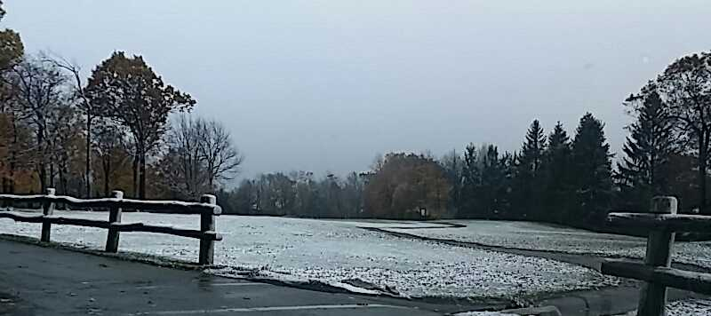 Our golf course has JUST enough snow to delay our golfers just a short while....This is from the Tee Top Lounge and near #8 tee.