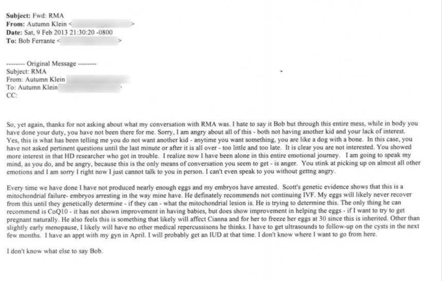 This email sent by Autumn Klein to Robert Ferrante was used as evidence in the Ferrante trial.