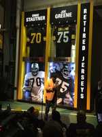 Joe Greene attended a ceremony to unveil an exhibit of retired Steelers jerseys in the Great Hall at Heinz Field.