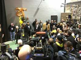 Joe Greene arrives at Heinz Field to have his No. 75 jersey retired by the Pittsburgh Steelers.