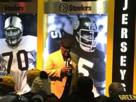 The Steelers retired Joe Greene's jersey number (75).