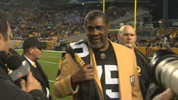The Steelers retired Joe Greene's jersey number 75 during an on-field ceremony at Heinz Field.