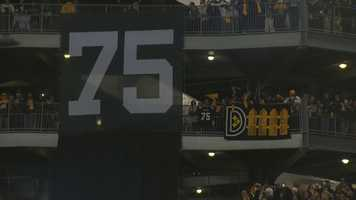 A large banner of a No. 75 Steelers jersey hangs at Heinz Field during the ceremony to retire Joe Greene's number.